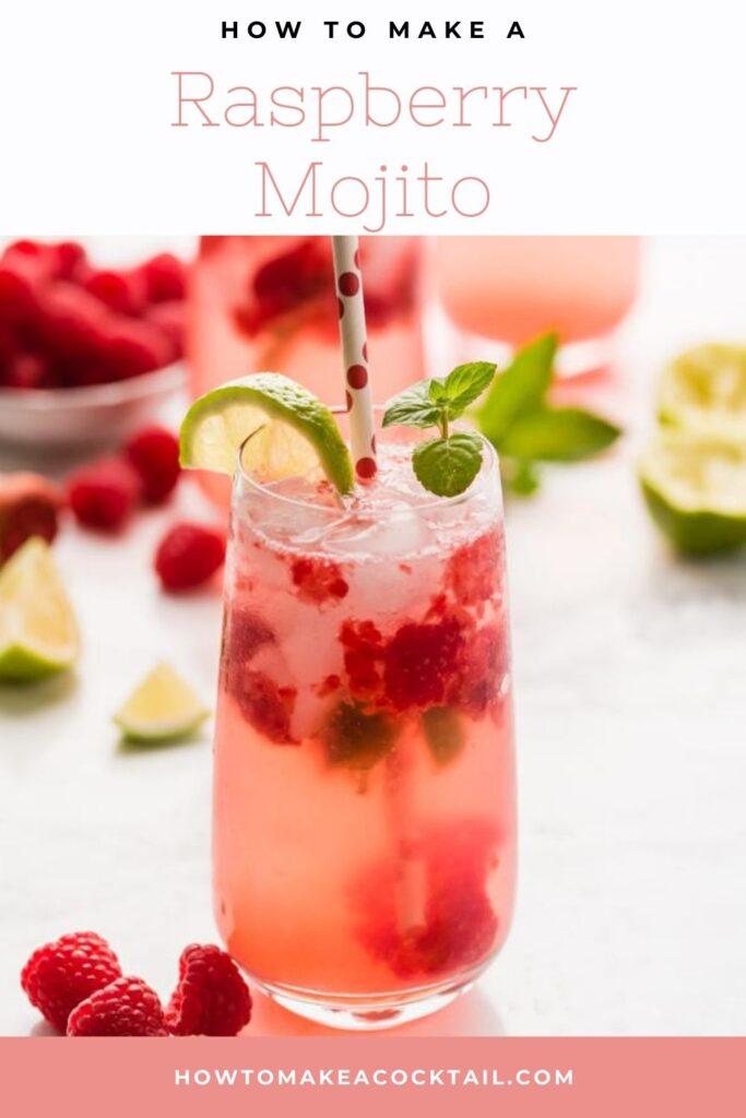 Glasses of raspberry mojitos